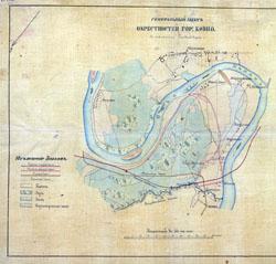 Kauno apylinkių planas Vičiūnai, Panemunė, Šančiai 1870