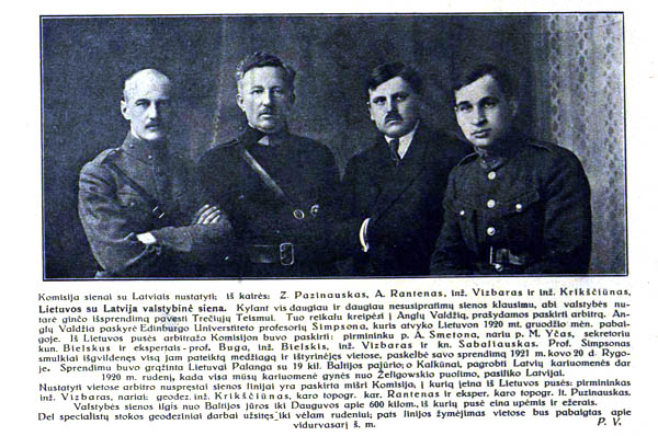 Komisija sienai su Latvija nustatyti. Iš kairės Z.Puziniauskas (Z.Pazinauskas), A.Rantenas, inž. Vizbaras, inž.A.Krikščiūnas.