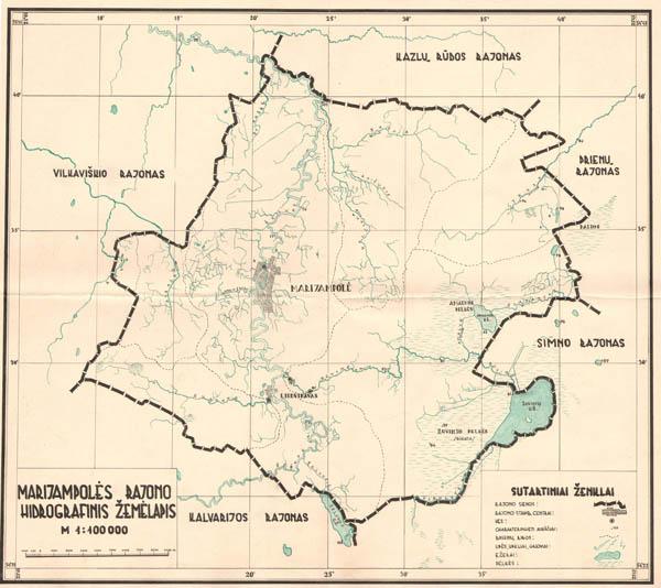 Marijampolės rajono hidrografinis žemėlapis