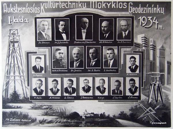 Kėdainių aukštesniosios Kultūrtechnikų mokyklos geodezijos skyriaus I laida