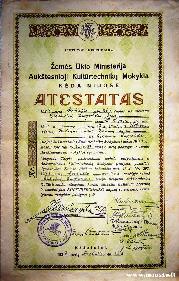 Aukštesniosios Kultūrtechnikų mokyklos atestatas