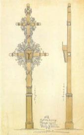 Tauragės rajonui sukurto kryžiaus projektas. Nubraižė B. Lazauskas. 1928 m.