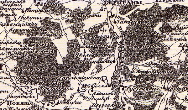 Vilniaus gubernijos 1:210000 (5 varstai colyje) žemėlapio fragmentas