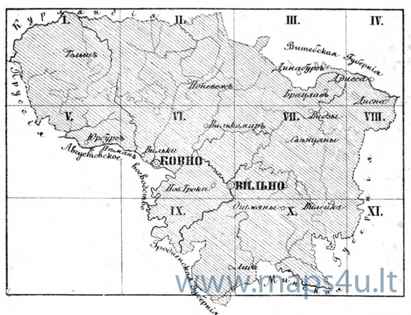 index sheet of topographical map of Vilnius and Kaunas gubernia