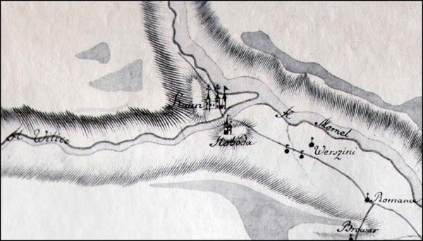 Kelio nuo Aa (dvaro) prie Bauskės iki Kauno prie Nemuno upės žemėlapis