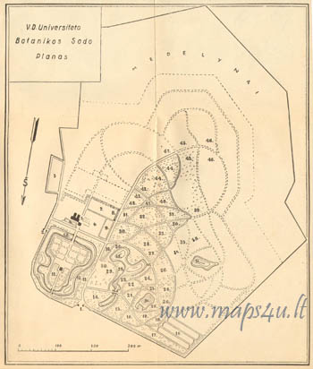 Plan of the botanical gardens of Kaunas University Vytautas the Great in Kaunas