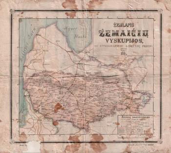Карта епархии Жемайтии с этнографической территории Литвы