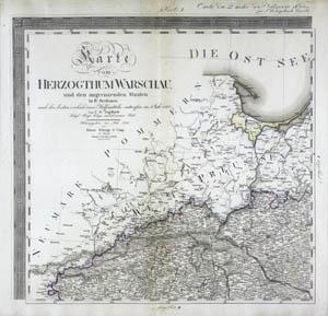 Karte vom Herzogthum Warschau und den angrenzenden Staaten in IV Sectionen