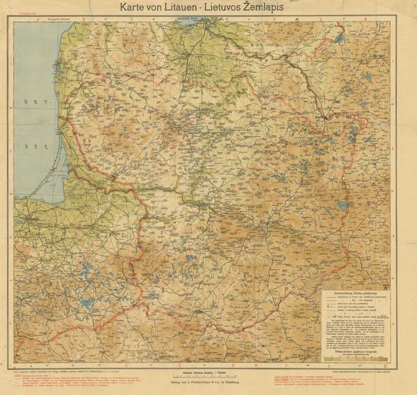 Карта Литвы 1918