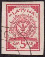 Latvian stamp on KdWR map