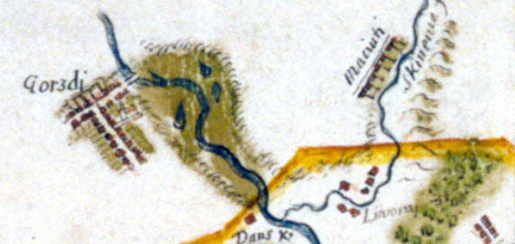 Gargždai on maps 1670