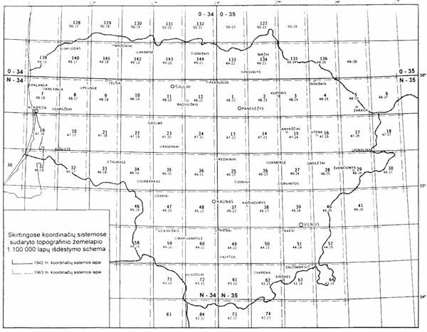 M1:100000 žemėlapių 1963 m. koordinačių sistemoje rinktinis lapas