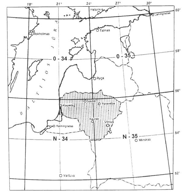 Lietuva Tarptautinio žemėlapio rėmuose