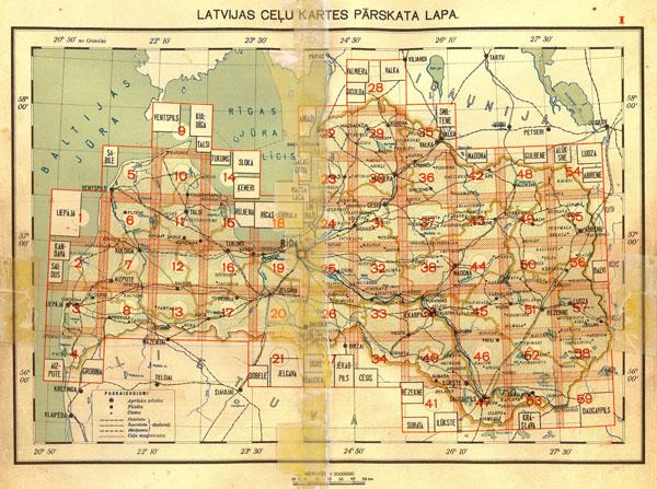 Карта дорог Латвии 1940