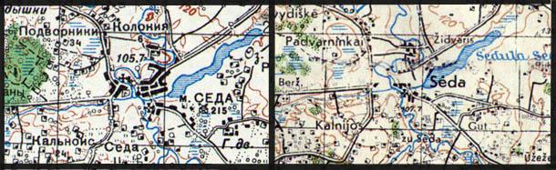 Ostland 1:10000 ir RKKA 1:100000 žemėlapių fragmentai Seda