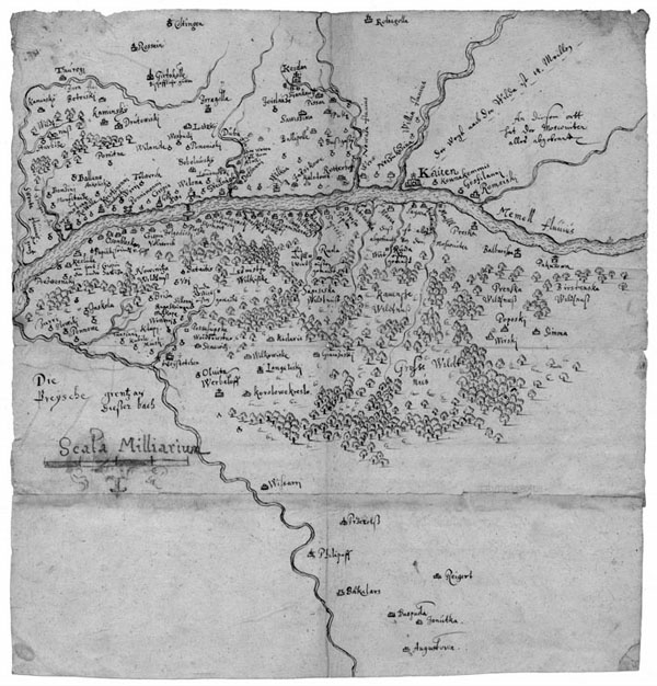 The map of the Kaunas district and southern Samogitia. 1656. Georg von Schwengeln