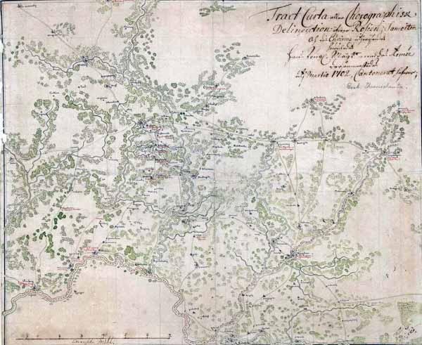 Raseinių ir Kauno vietovių žemėlapis 1702