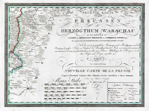 Neueste karte Preussen and Warschau 1809