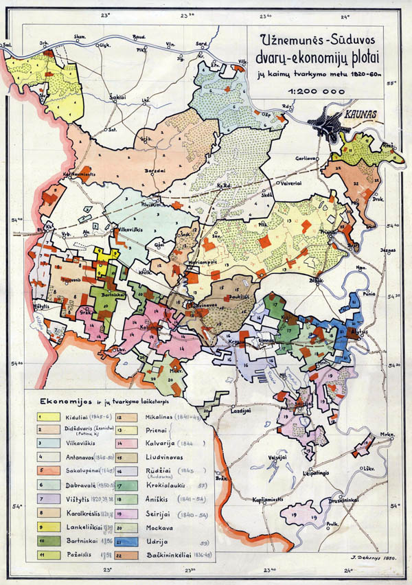 Maps and plans showing handling of territories in Lithuania