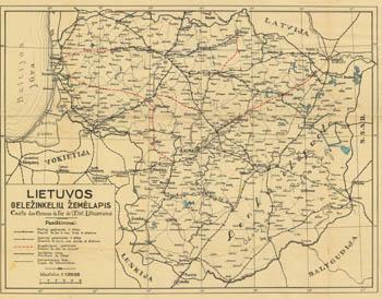 Lietuvos gele�inkelių �emėlapis 1930