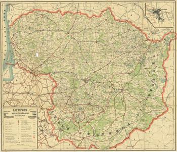 Lietuvos kelių žemėlapis 1939