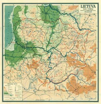 Lietuva sieninis žemėlapis. Vireliūnas 1937