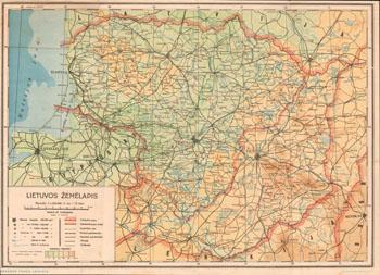A.Vaičiulaitis Lietuvos žemėlapis 1:1200000 1937