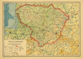 A. Vaičiukaitis Lietuvos žemėlapis 1939