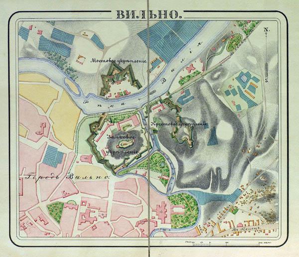 Vilniaus 2 klasės tvirtovės planas 1830